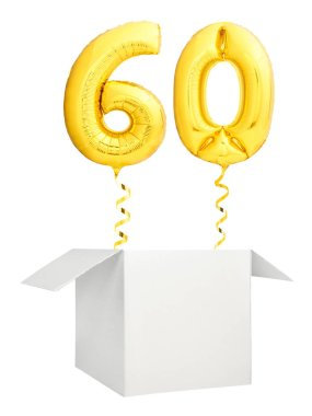 Golden number sixty balloon flying out of blank white box isolated on white background