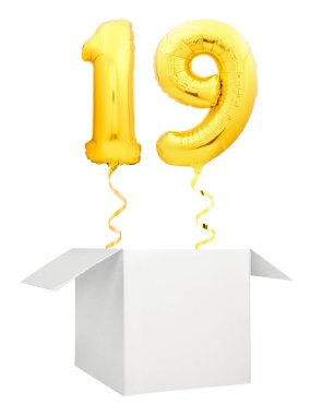 Golden number ninety balloon flying out of blank white box isolated on white background