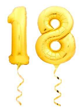 Golden number 18 eighteen made of inflatable balloon with ribbon isolated on white