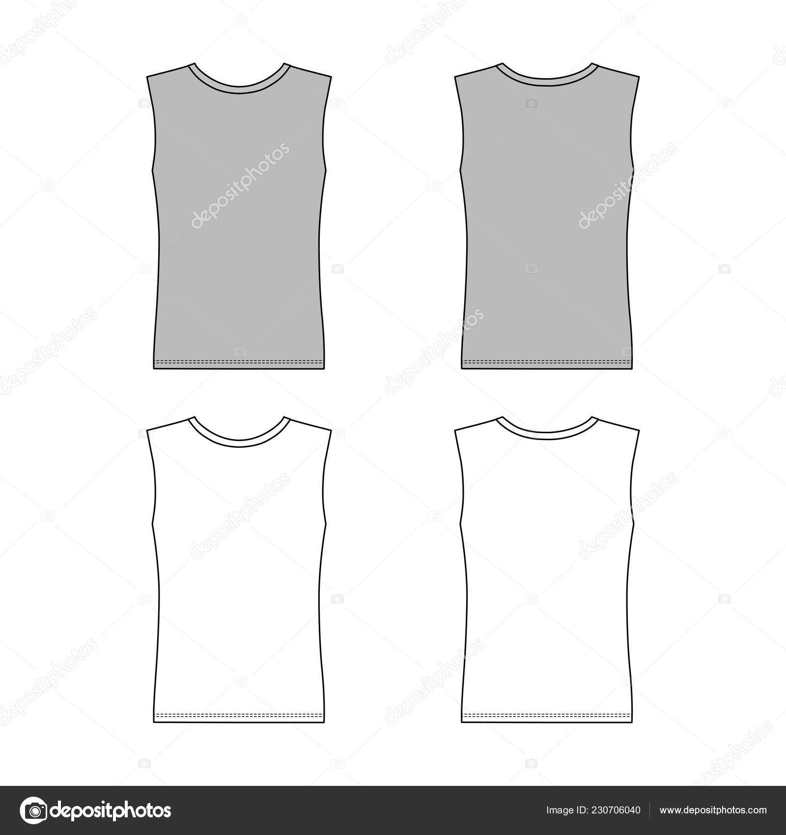 Sleeveless Shirt Outlined Template Front Back View Vector Illustration Isolated Stock