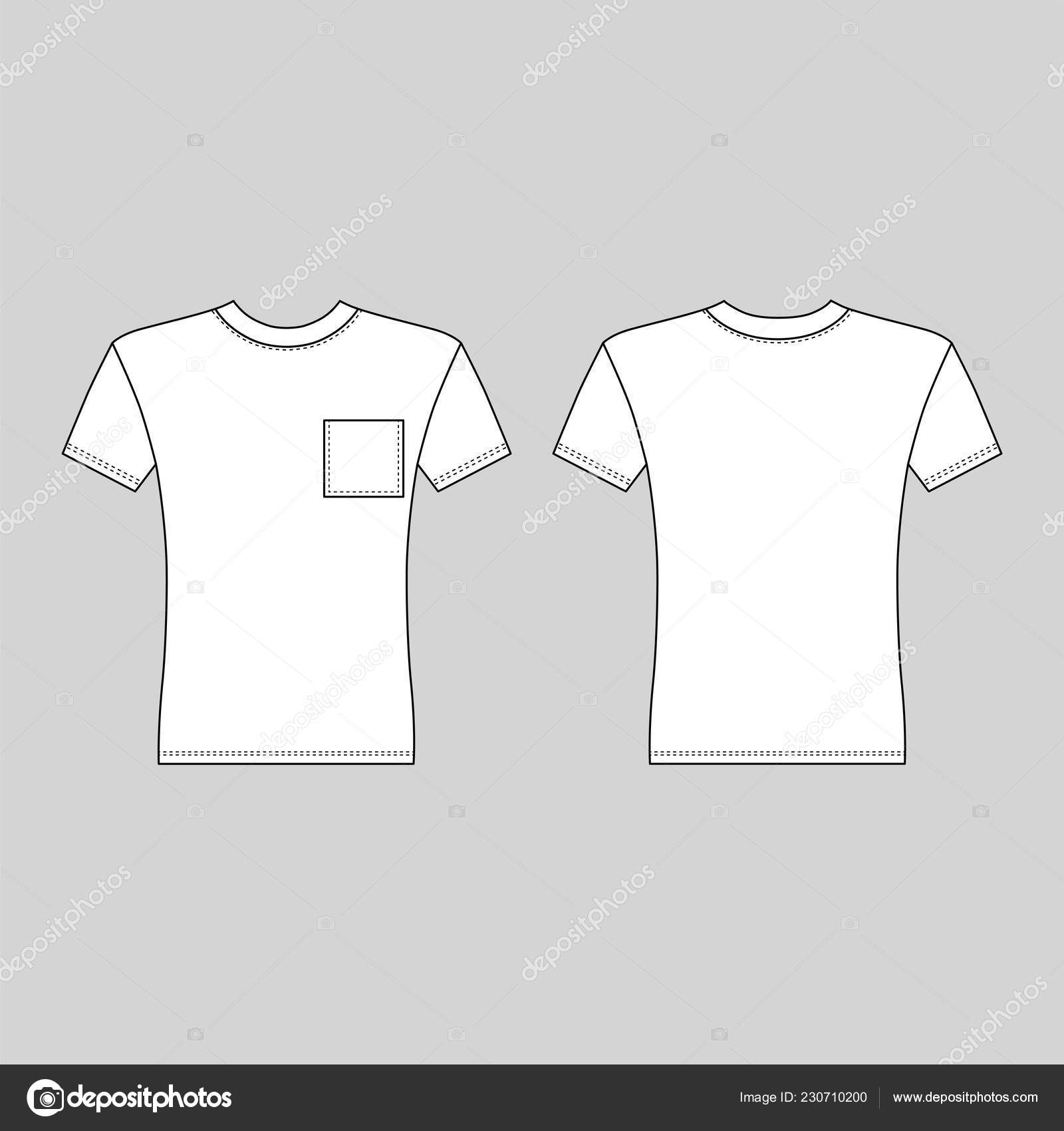 Shirt Man Template Front Back Views Vector Illustration Isolated