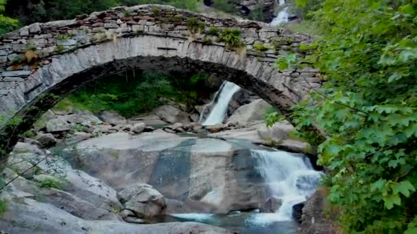 view to amasing waterfall in mountains
