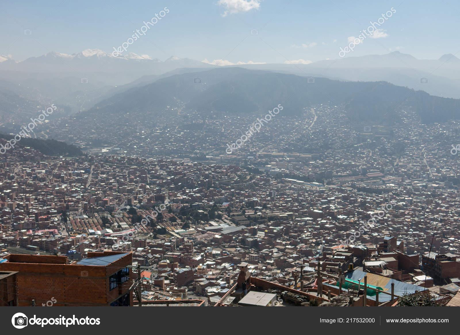 City Paz High Andes Mountains Bolivia Viewed Mirador Kilikili Background Stock Photo C Toniflap 217532000