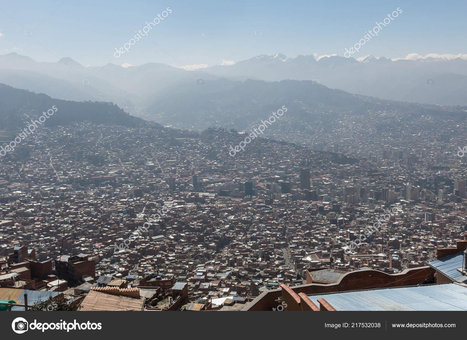 City Paz High Andes Mountains Bolivia Viewed Mirador Kilikili Background Stock Photo C Toniflap 217532038