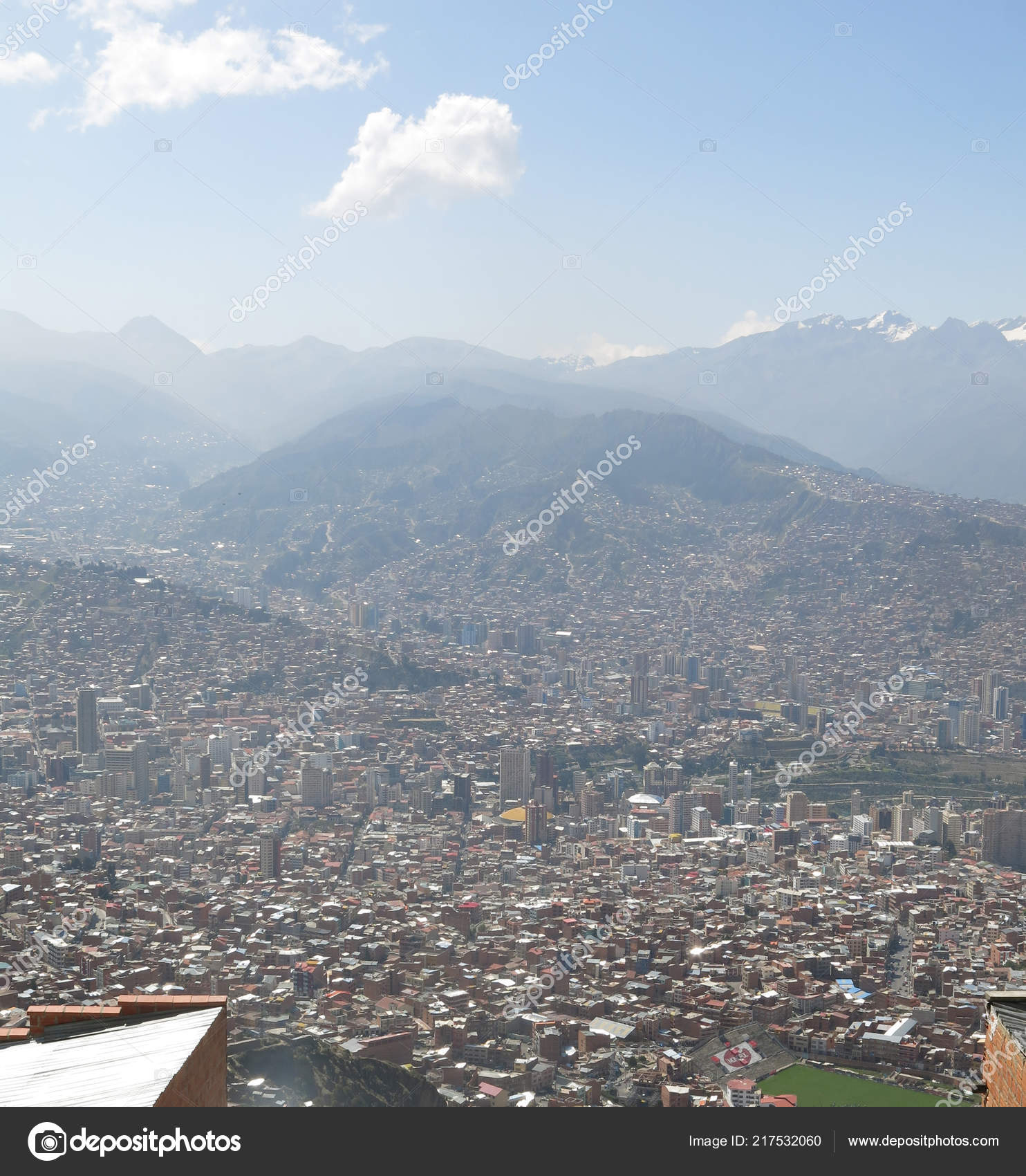 City Paz High Andes Mountains Bolivia Viewed Mirador Kilikili Background Stock Photo C Toniflap 217532060