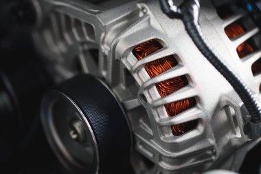 new car alternator, close-up view