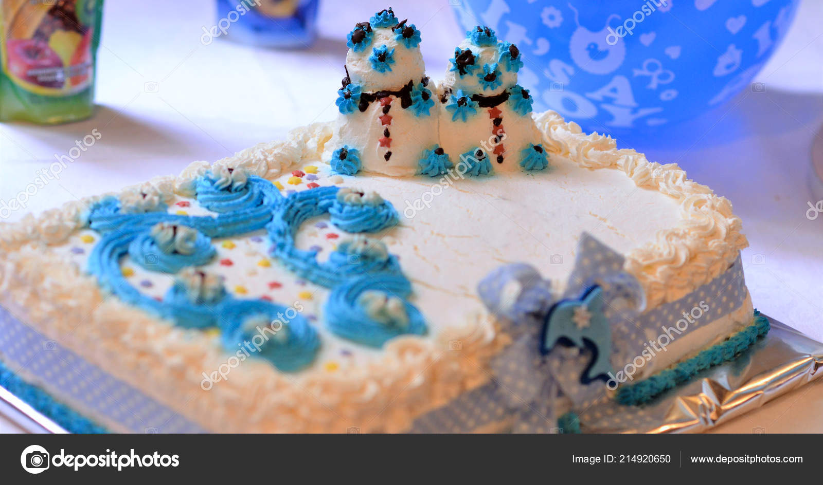 Baby Boy Birthday Cake On A Table Image Of Stock