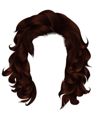 trendy  woman curly hairs brown color .