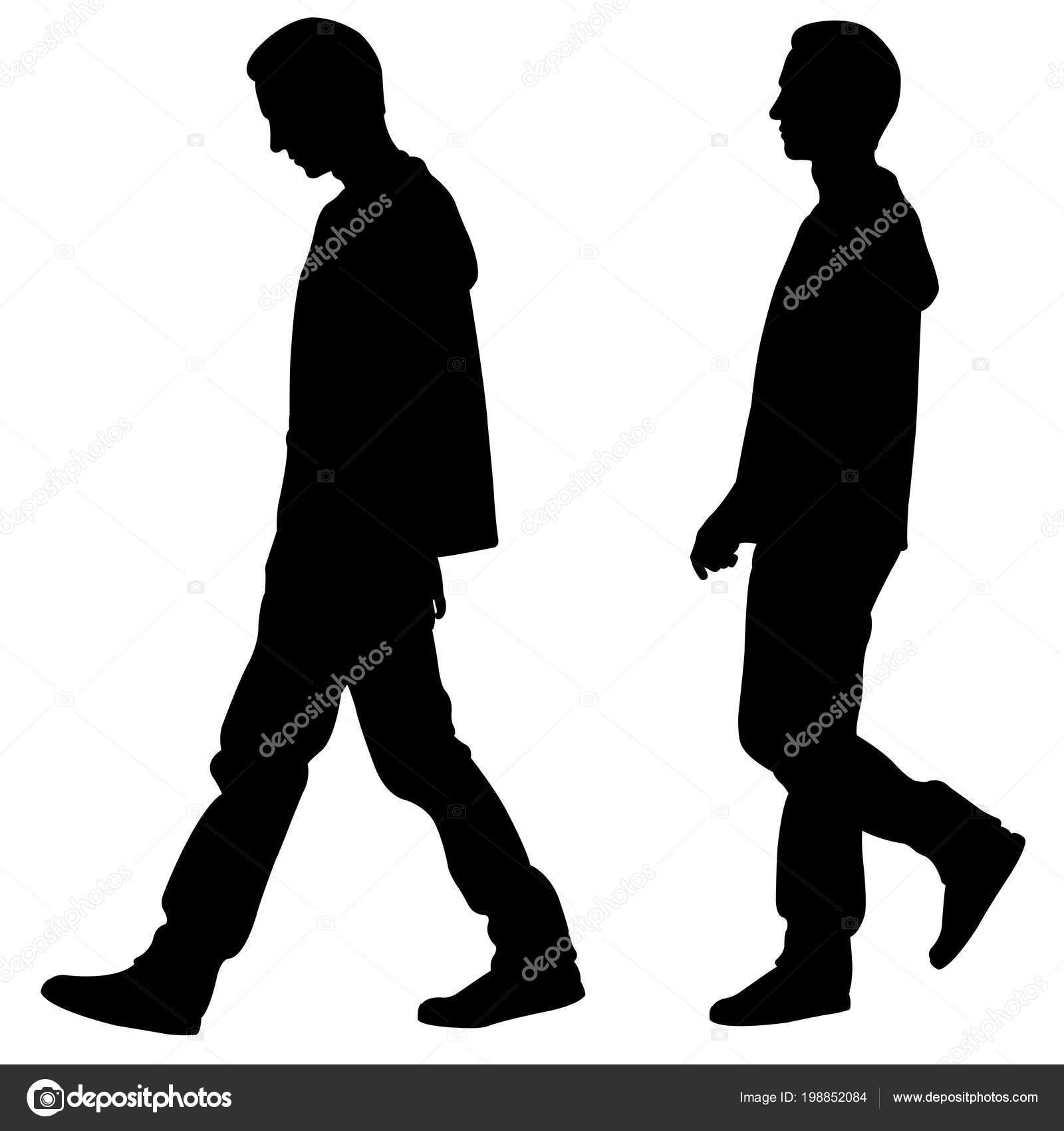 Sagome Persone Che Camminano.Sagome Persone Che Camminano Isolate Bianco Vettoriali