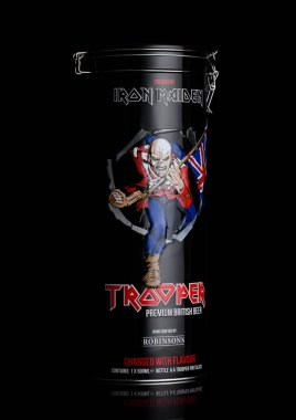 LONDON, UK - JUNE 01, 2018: Gift steel tube of Trooper Premium British Beer on black background. Created by Iron Maiden.