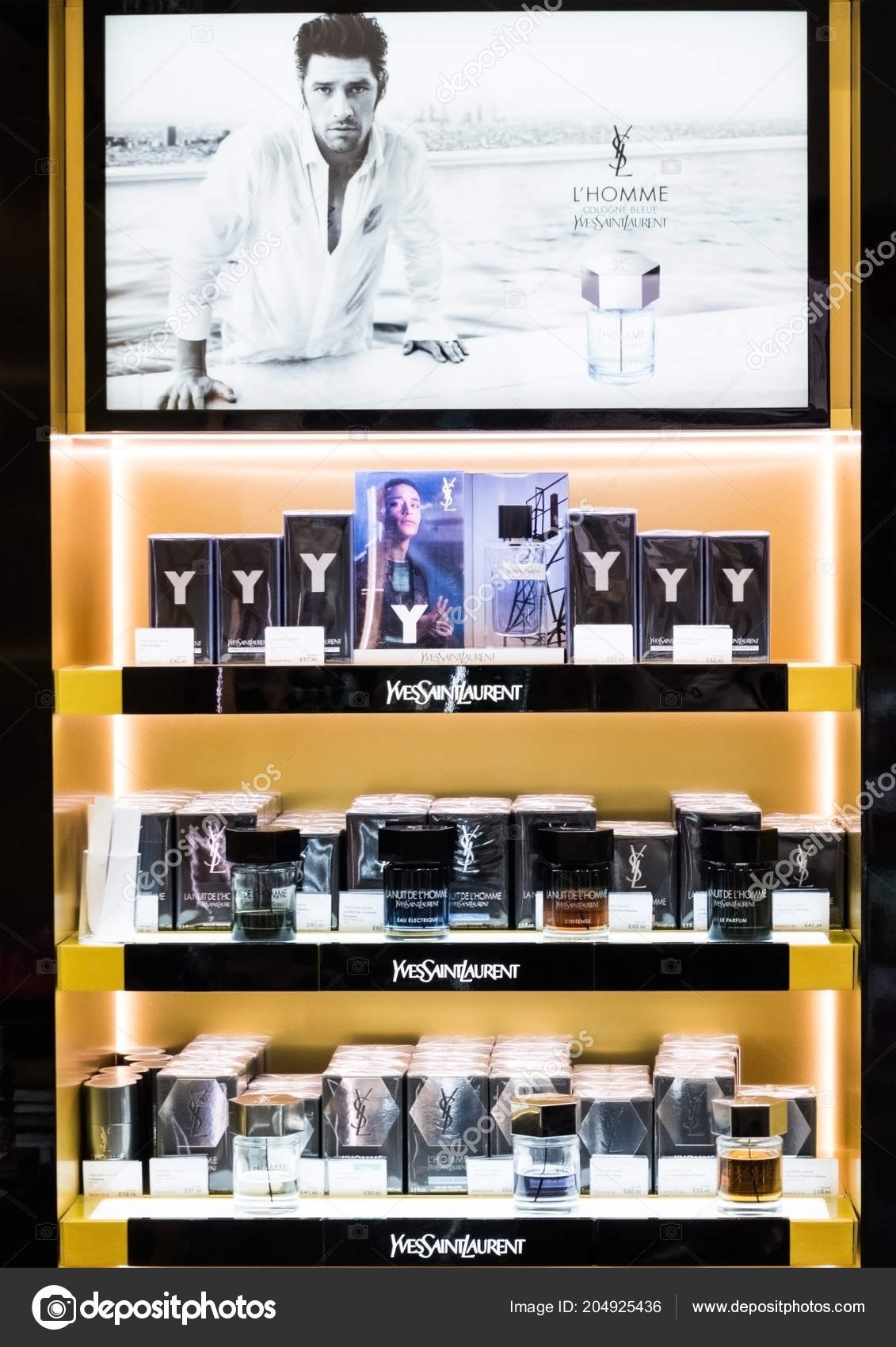 e060480be5a Amsterdam Netherlands July 2018 Yves Saint Laurent Frangrance Perfume Stand  — Stock Photo