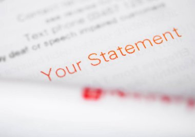 Your statement paper for tax and business and personal information