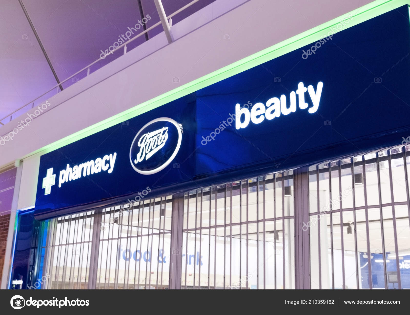 London August 2018 Boots Pharmacy Display Shopping Centre
