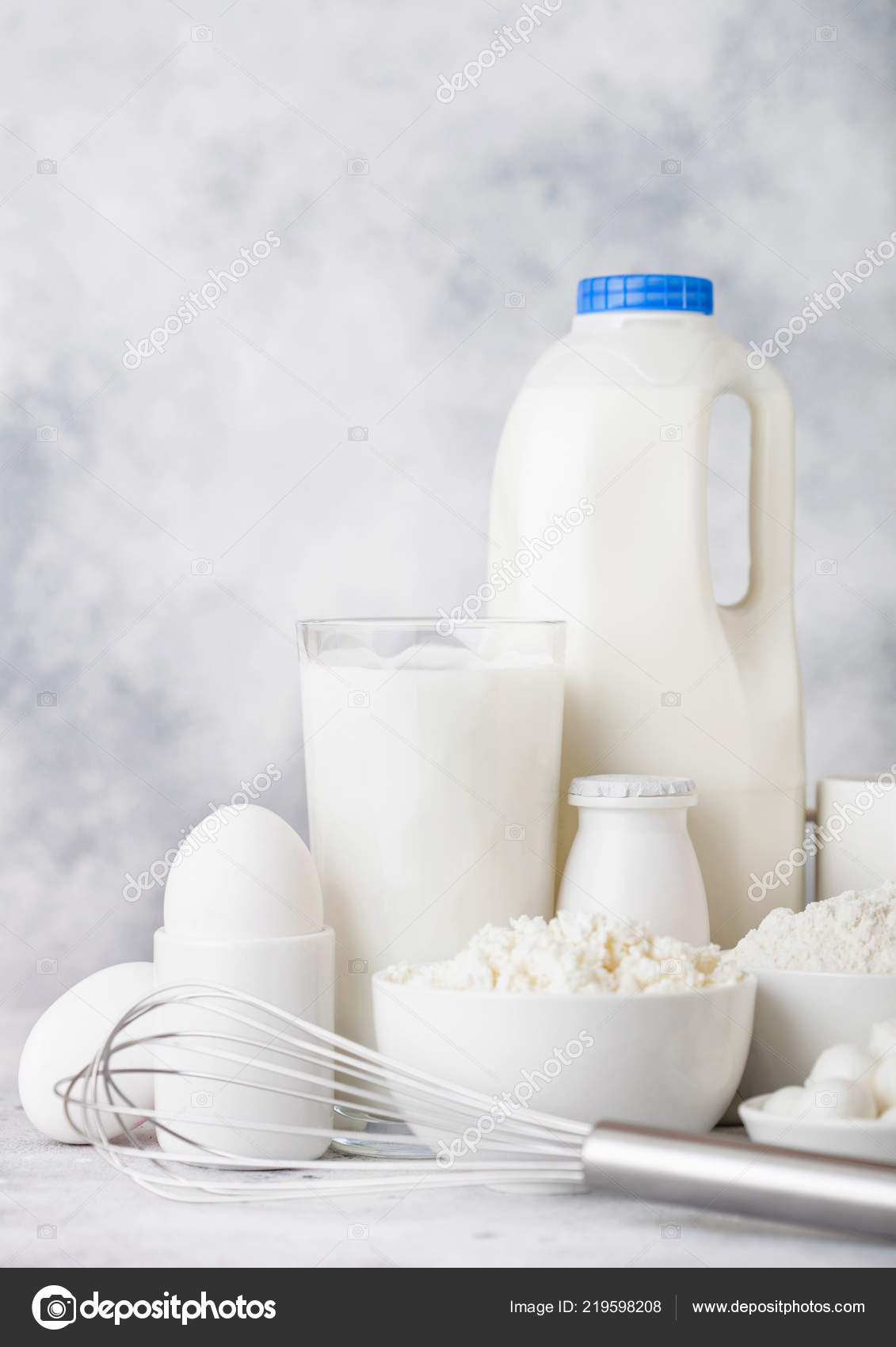 Fresh Dairy Products White Background Glass Jar Milk Bowl Sour — Stock Photo
