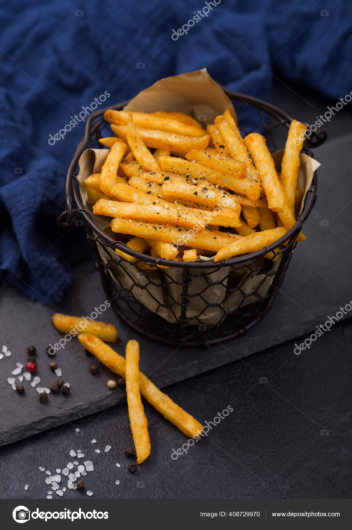 French Fries Chips Snack Bucket Black Stone Board Blue Towel Stock Photo C Denismart 408729970