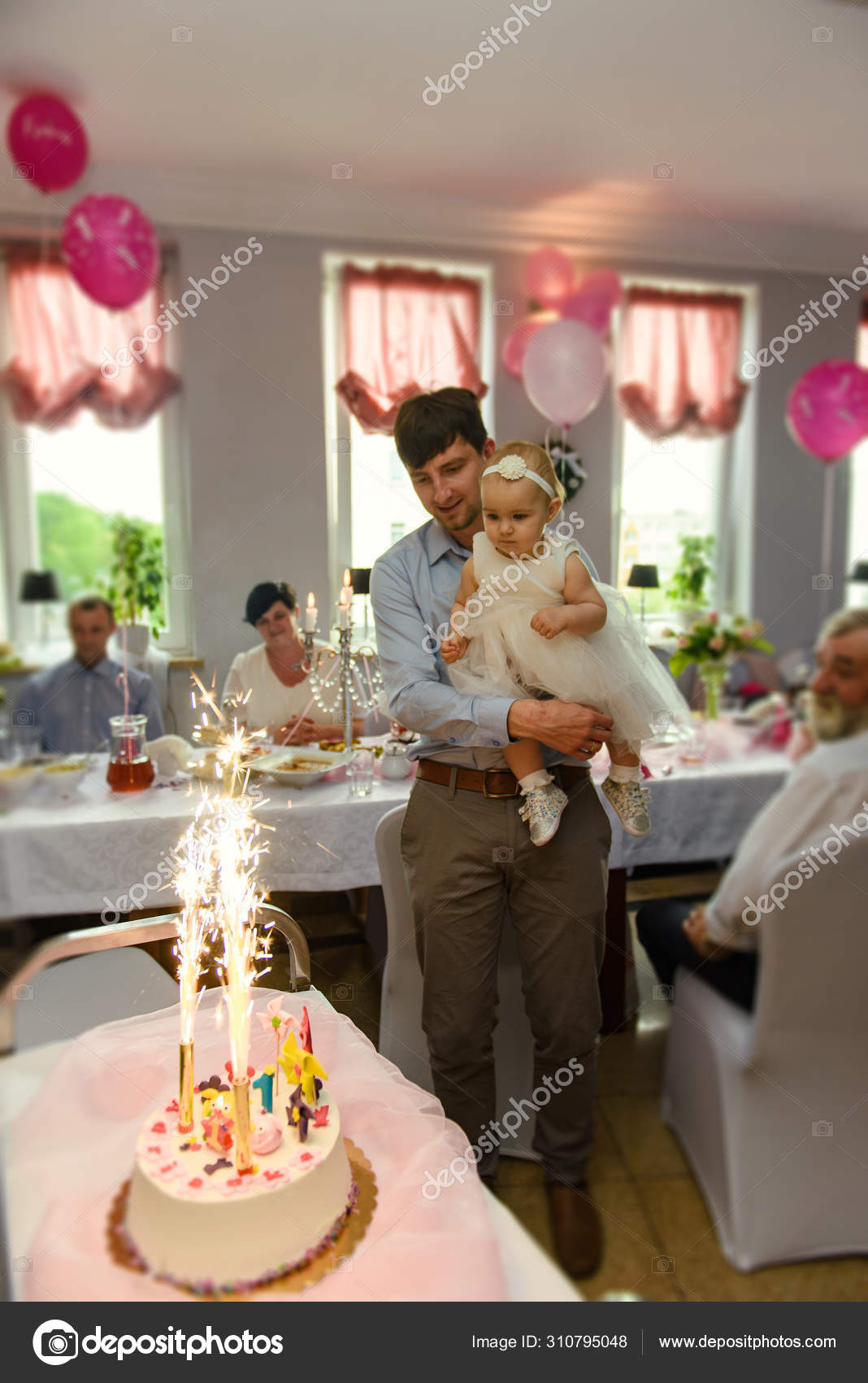 Marvelous Baby Girl 1 Year Old Eating Birthday Cake In Room Birthday Party Personalised Birthday Cards Paralily Jamesorg