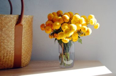 Beautiful bouquet of Yellow Chrysanthemums placed on table