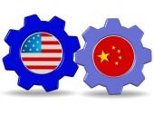 China and the USA - flags in gears interaction