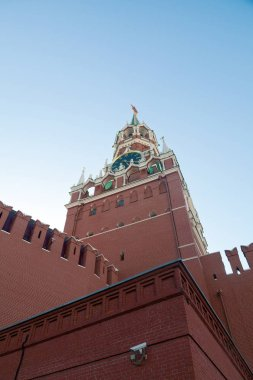The main historical building in Moscow. Kreml tower with clock and rubin star. Unusual view