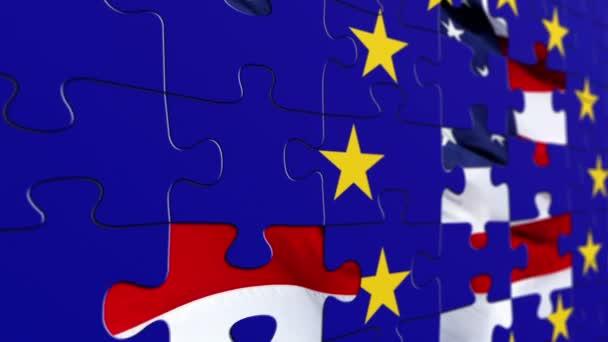 Eu and USA flag puzzle concept