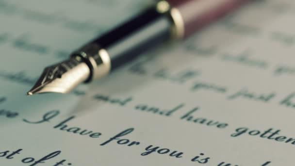 Fountain pen on love letter