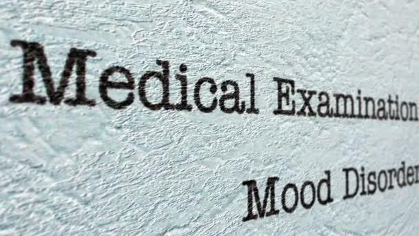 Mood disorder medical report