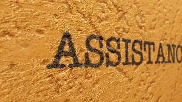 Assistance text on grunge background