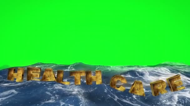 health care text floating in the water against green screen