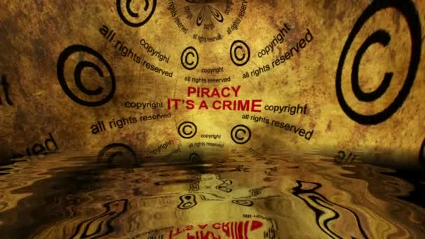 Copyright piracy is crime grunge concept