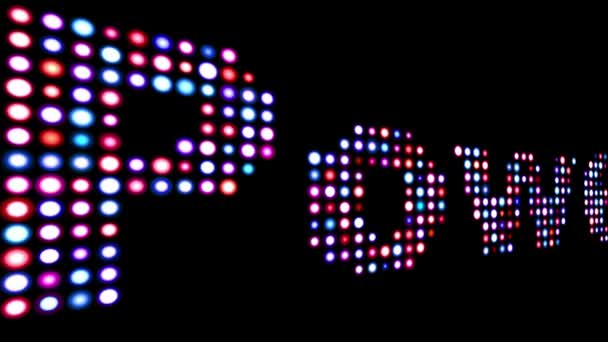Power colorful led text over black