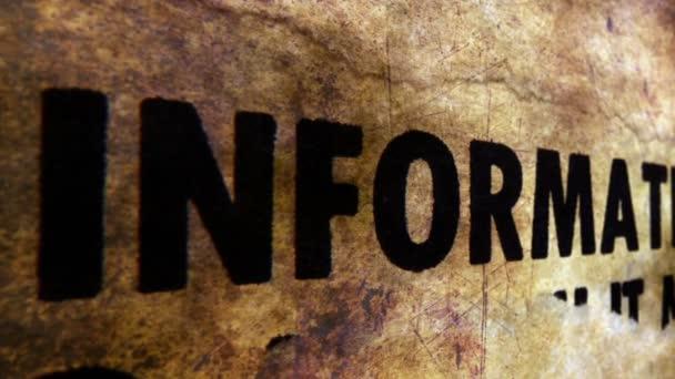 Information grunge concept dolly shot