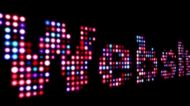 Webshop bunte LED-Text über schwarz
