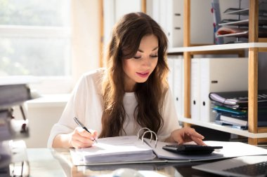 Young Businesswoman Calculating Bill With Calculator In Office