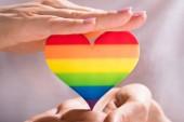 Fotografie Ženská ruka ochrana tvaru srdce Multi barevné