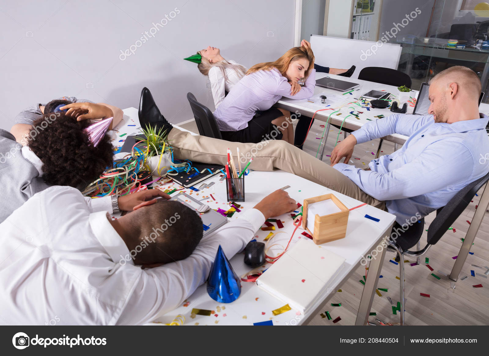 group businesspeople sleeping office new year party stock photo