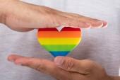 Fotografie Detail z lidské ruky držící rainbow Lgbt srdce