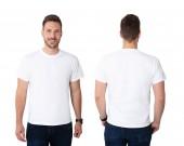 Fényképek Első és hátsó nézet egy fiatal férfi fehér póló