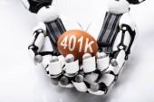 Fényképek Közelkép Robot gazdaság 401k barna tojás, fehér háttér