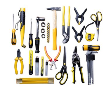 Elevated View Of Various Construction Tools On White Background