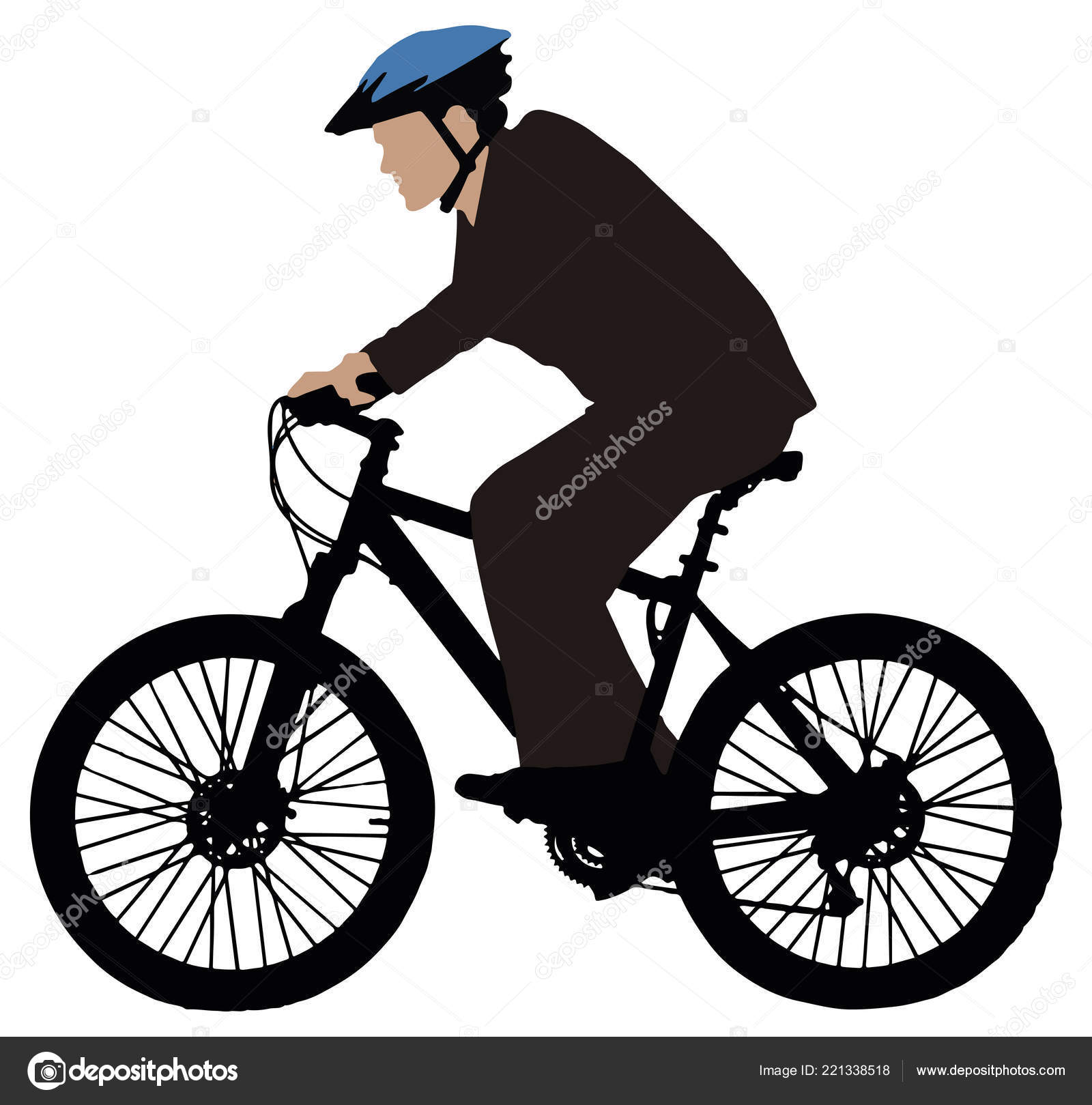 13e351de6f9a Side View Cyclist Riding Bicycle White Background — Stock Vector ...