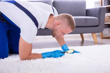 Side View Of A Young Male Janitor Looking At Carpet With Magnifying Glass