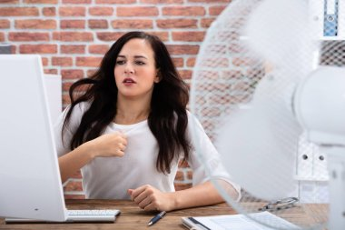 Young Businesswoman Cooling Herself In Front Of Fan During Hot Weather In The Office