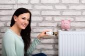 junge lächelnde Frau justiert Thermostat mit Sparschwein am Heizkörper zu Hause