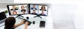 Fotografie Online-Videokonferenz zum Lernen. Arbeit von zu Hause aus