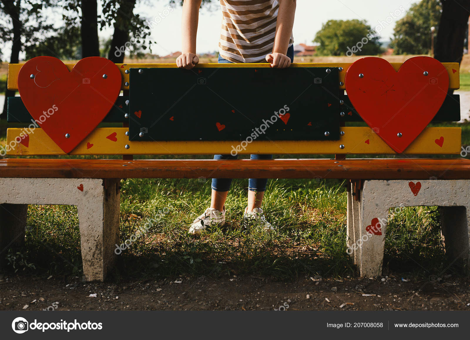 Decorated Park Bench Heart Symbols One Girl Back Leaning Stock