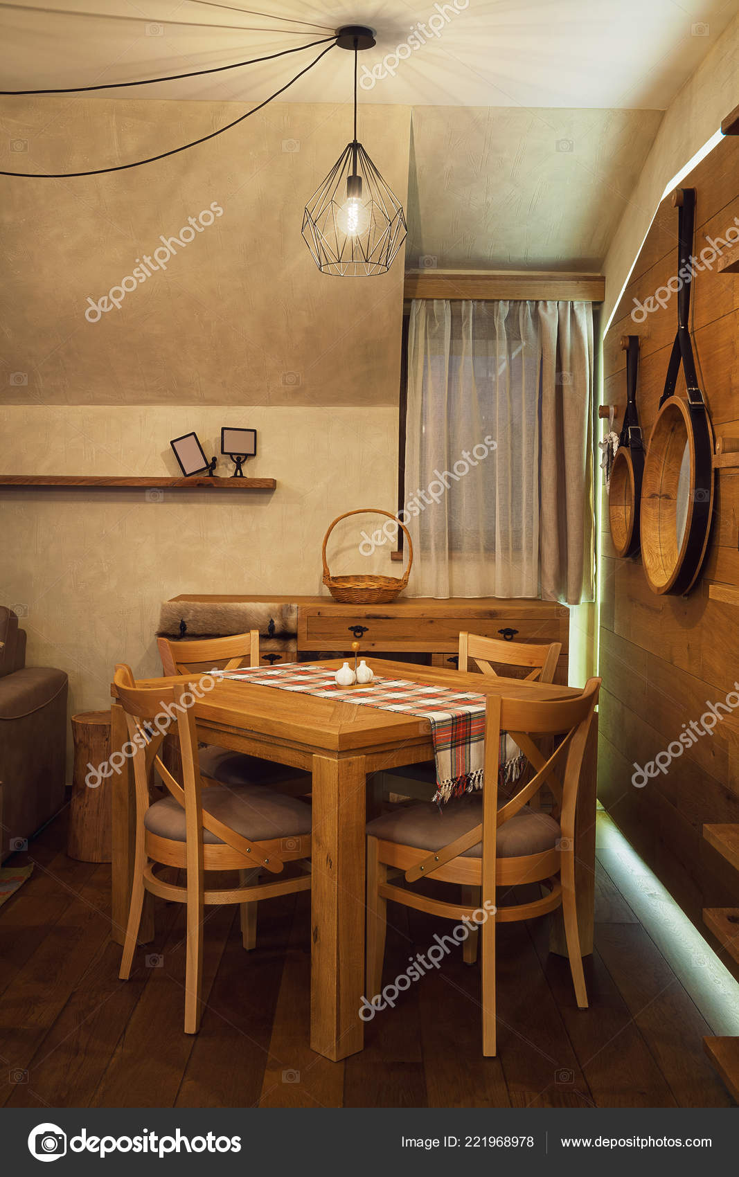 Small Chinese Restaurant Interior Design Ideas Interior Small Apartment Wooden Furniture Decoration Stock Photo C Krsmanovic 221968978
