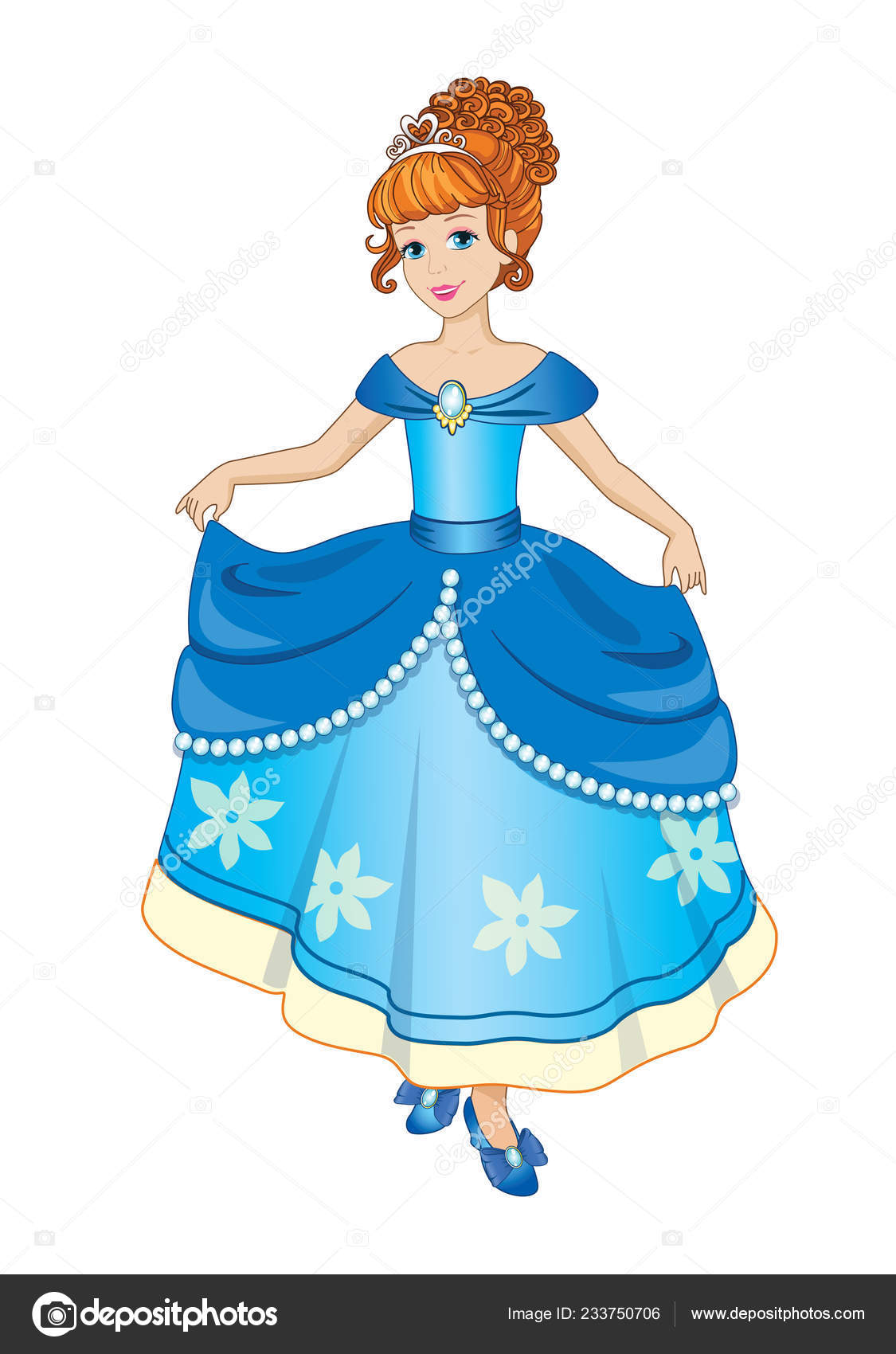 Beautiful Princess Ball Gown Children Illustration Vector