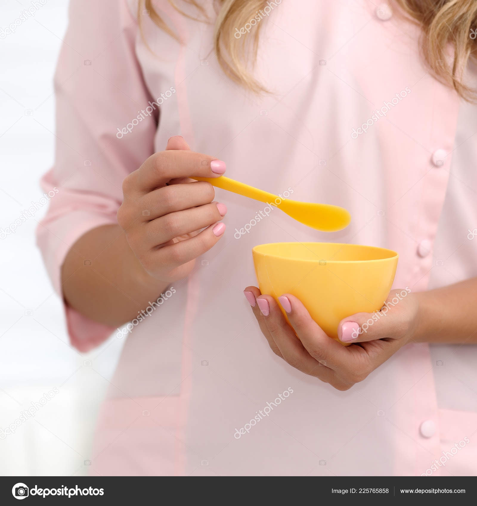 Hands Beautician Stir Ingredients Yellow Cup Applying Mask