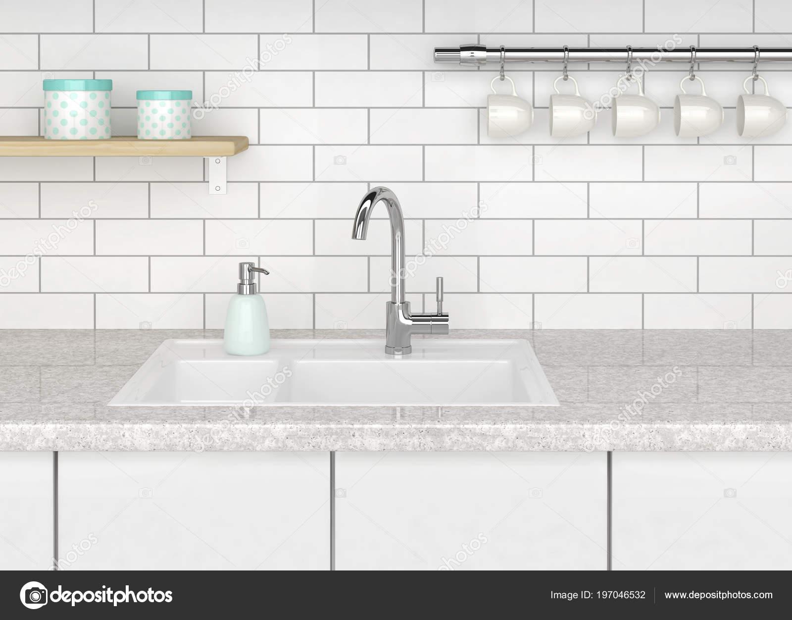 Küche Mit Weißer Wanne Und Küche Wasserhahn Weiße Ziegel Wand