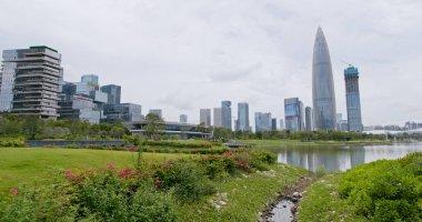 Shenzhen Bay, China - 06 July, 2018: Timelapse of Shenzhen city